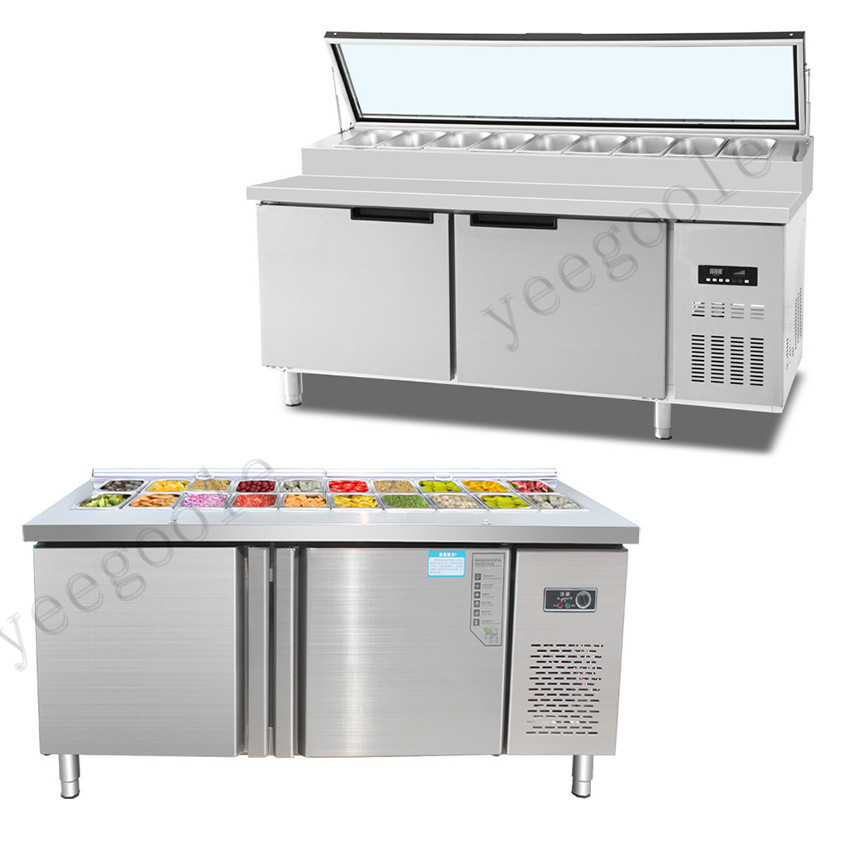 Vertical Salad Cabinet Slotted Salad Station Water Bar Workbench Fresh-keeping Cabinet